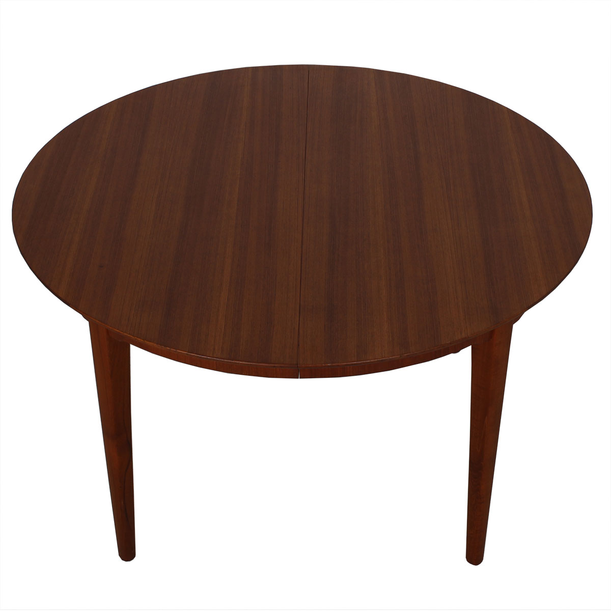 Super Expanding Round to Oval Danish Teak Dining Table w/ 4 Leaves!