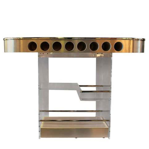 Lighted Lucite & Chrome Mid Century Modern Bar w/ Tuck-Away Stools!