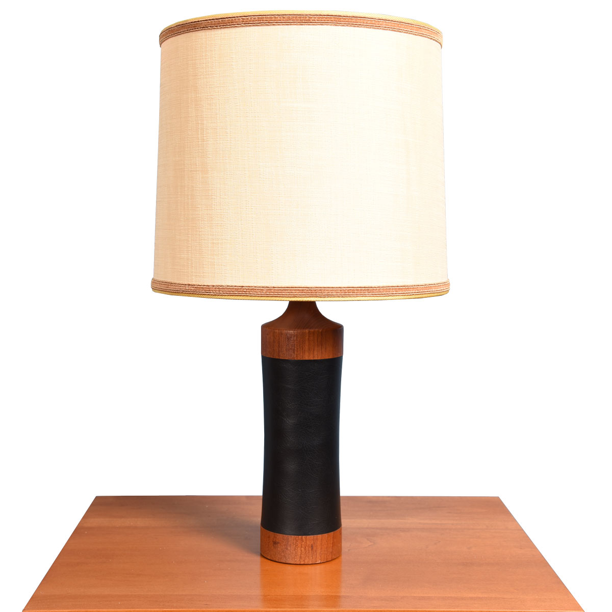 Danish Teak & Black Vinyl Table Lamp