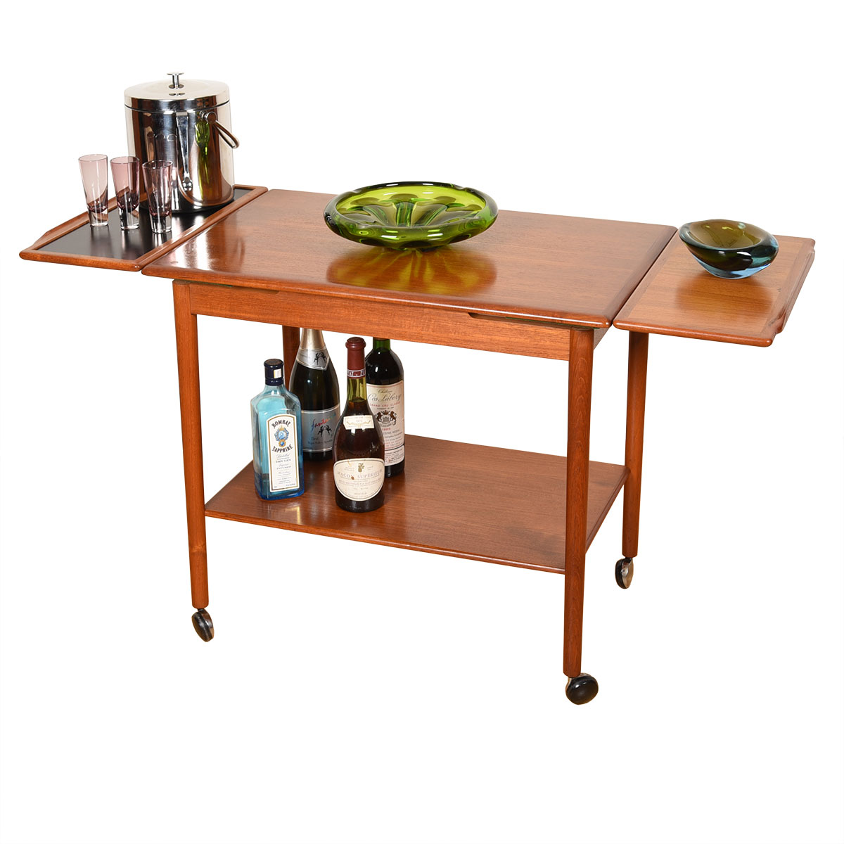 Expanding Danish Teak Rolling Bar / Serving Cart with Leaves