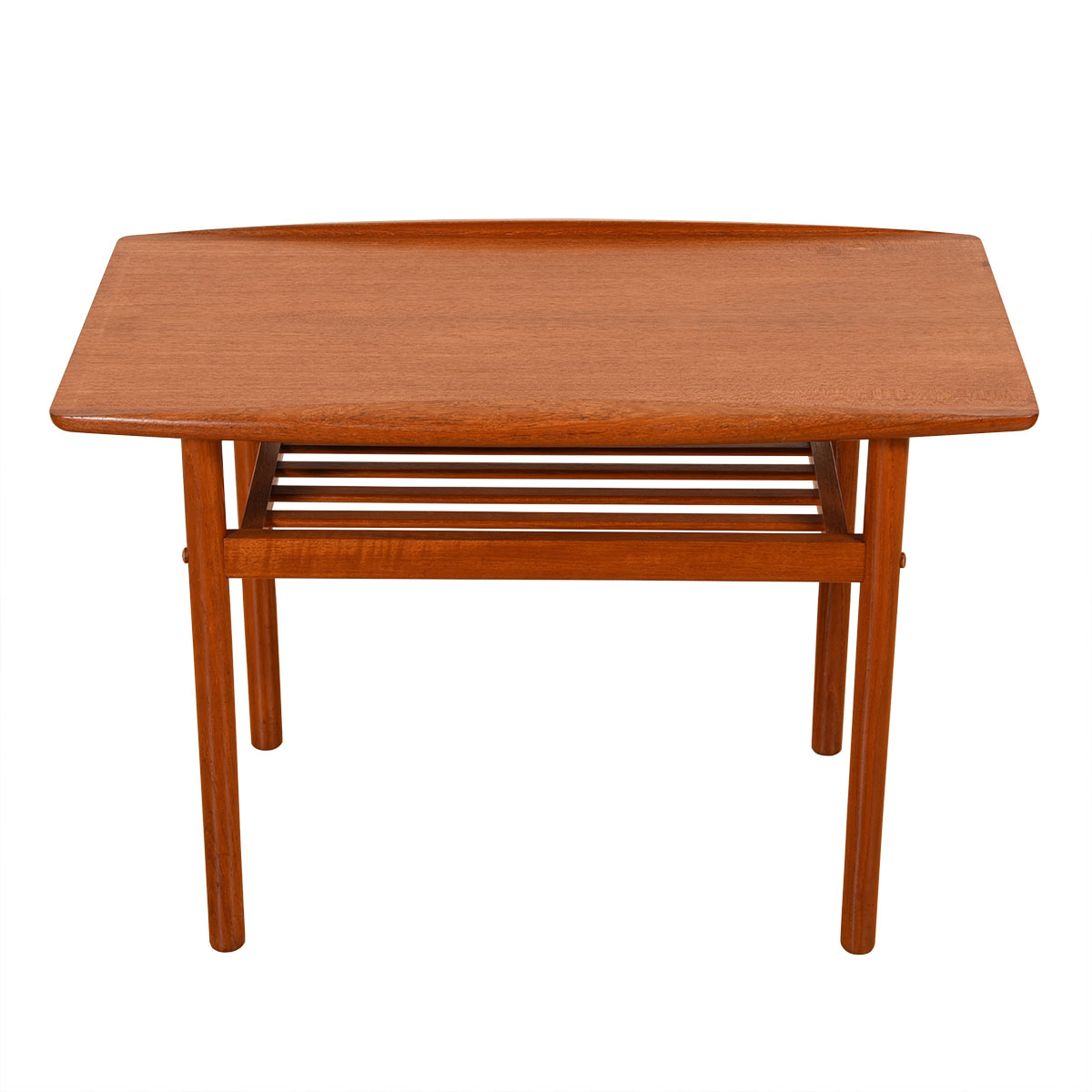 Teak End / Accent Table with Raised Lip Top + Slatted Shelf