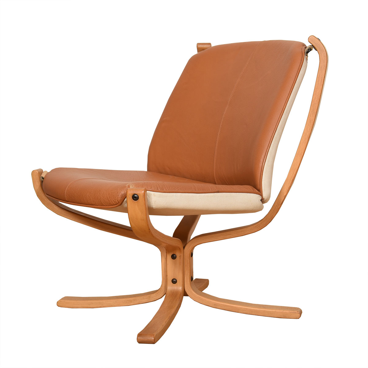 Blonde Norwegian Leather 'Falcon' Lounge Chair