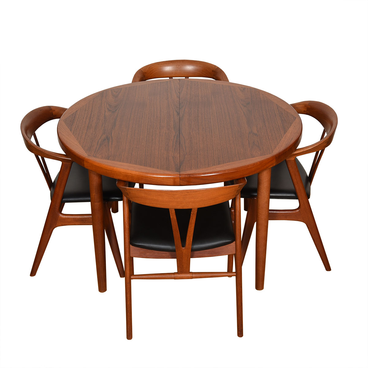 Round-to-Oval Danish Teak Dining Table w/ 2 Leaves