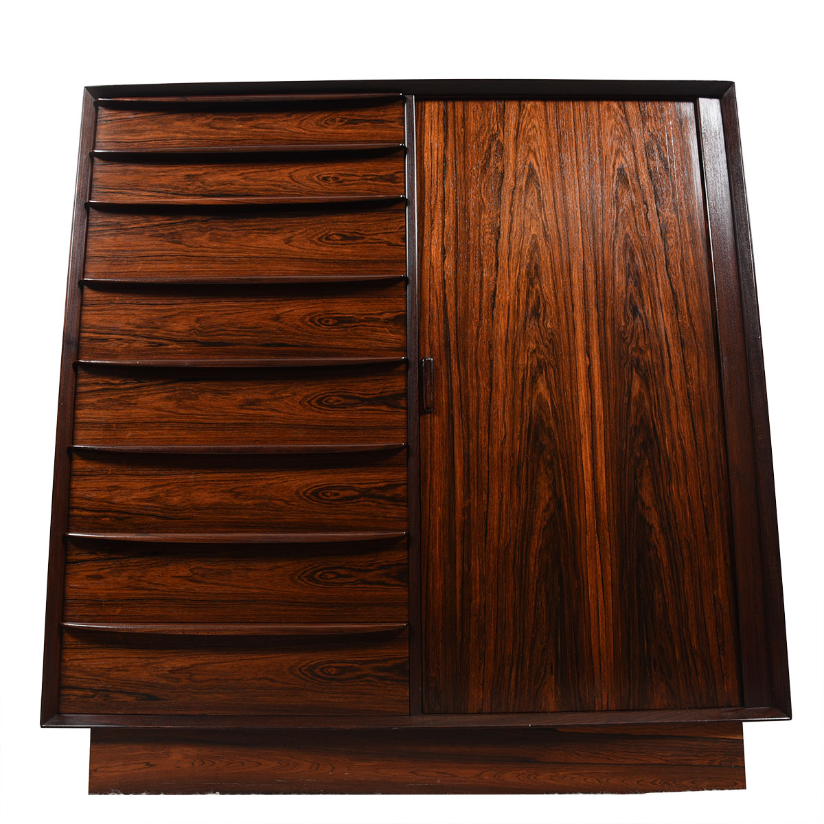 Danish Rosewood Tambour Door Tall Dresser / Gentleman's Chest