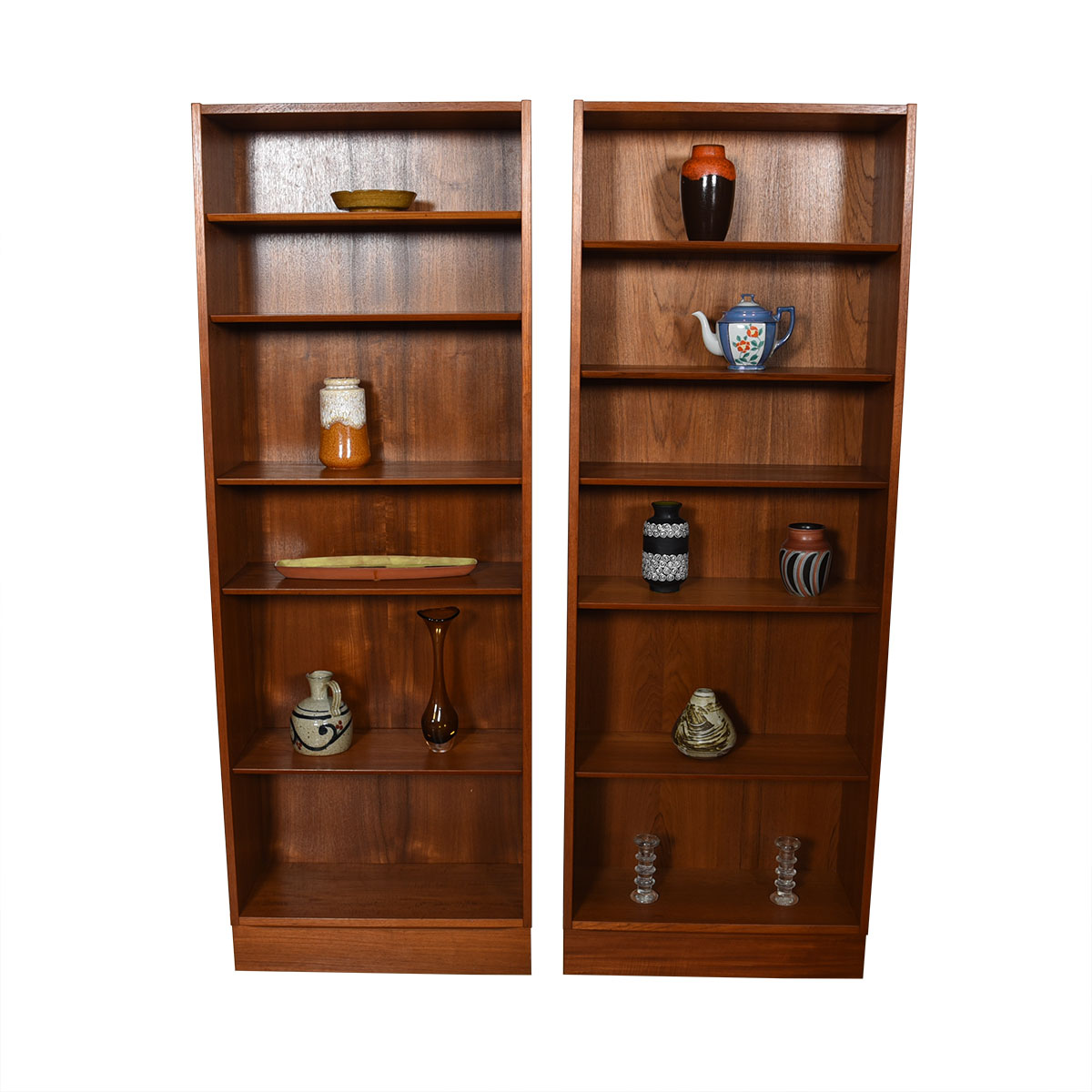 Pair of Tall Teak Bookcases w/ Adjustable Shelves