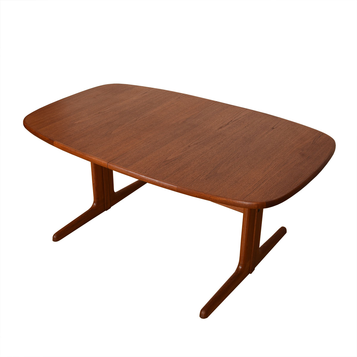 Danish Teak Rounded-Edge Expanding Dining Table