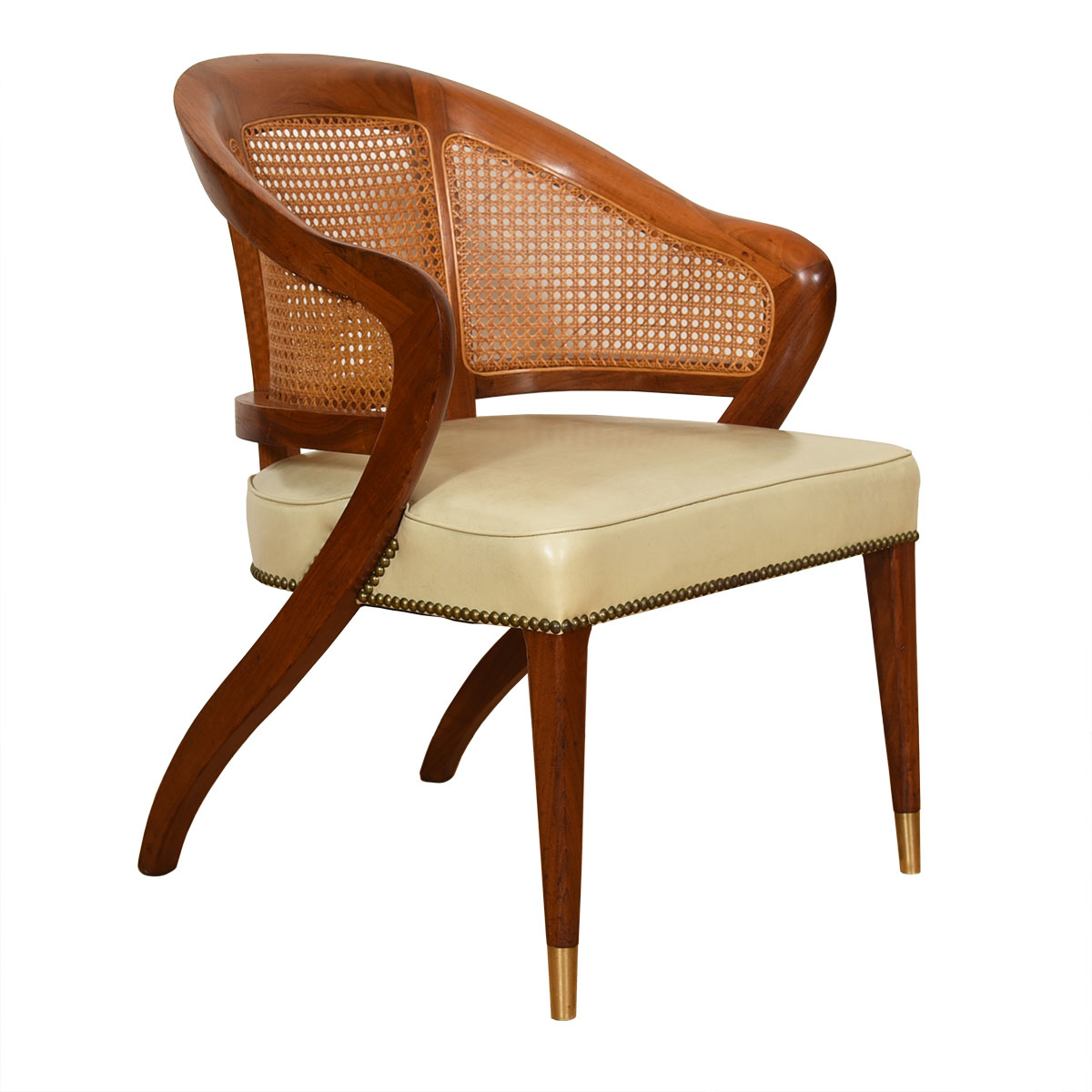 Edward Wormley for Dunbar Caned Back Accent Chair