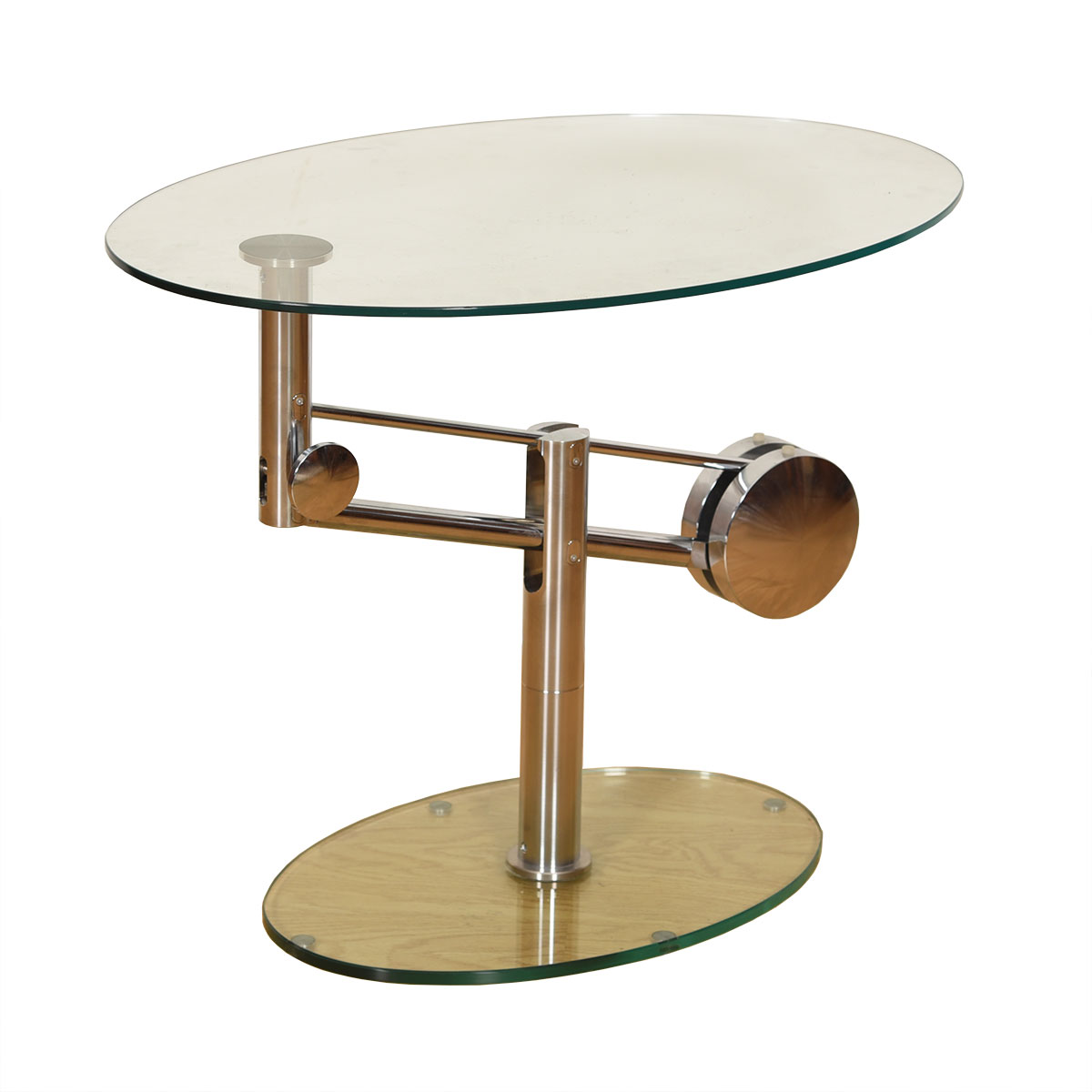 Vintage Chrome + Glass Oval Adjustable Height Coffee / Accent Table