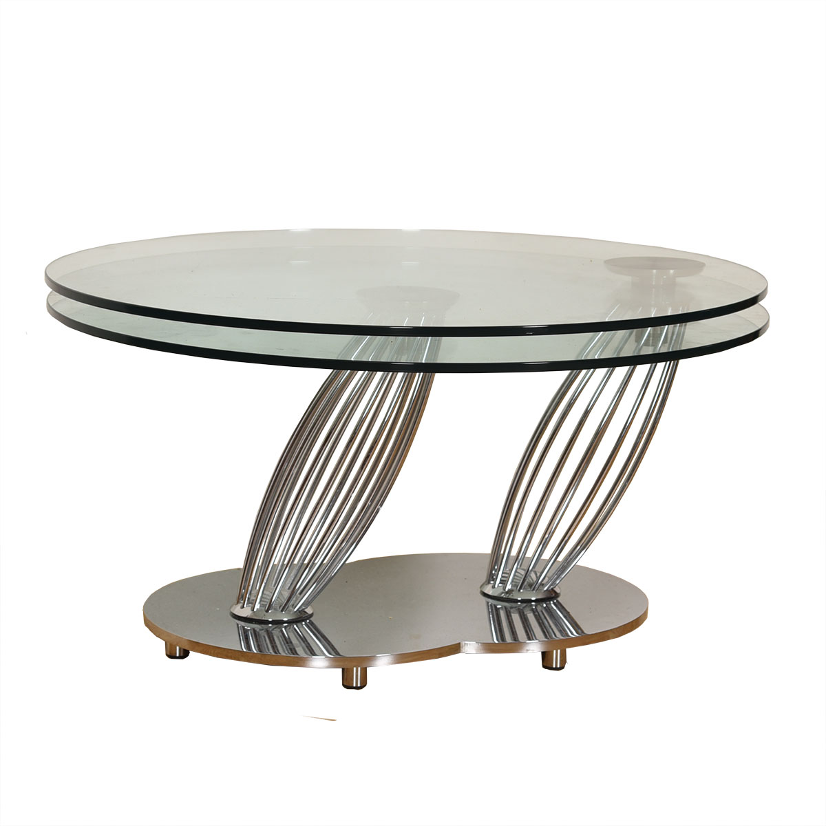 Vintage Chrome + Glass Round Rotating Double-Top Coffee Table