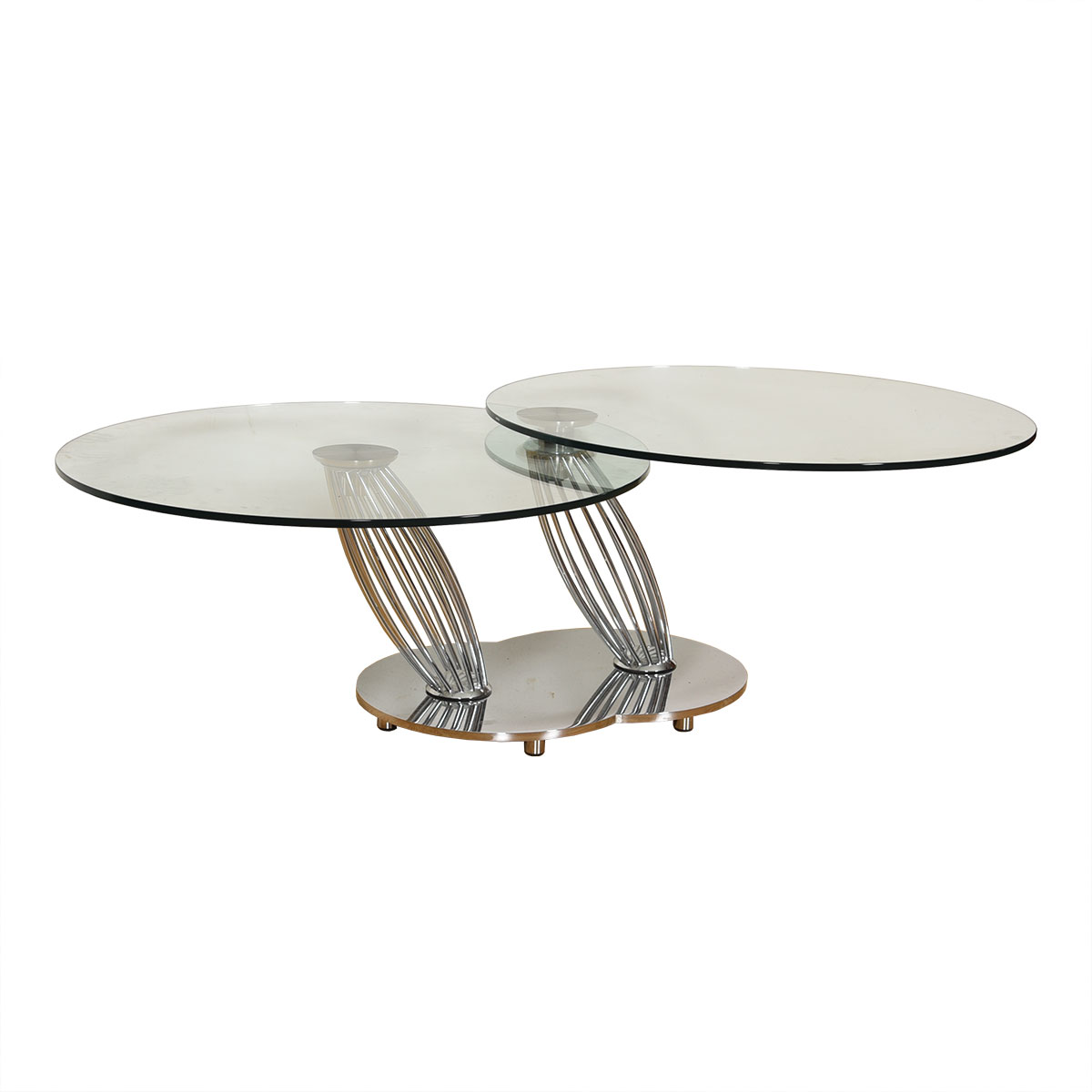 Vintage Chrome + Glass Rotating Double-Top Coffee Table