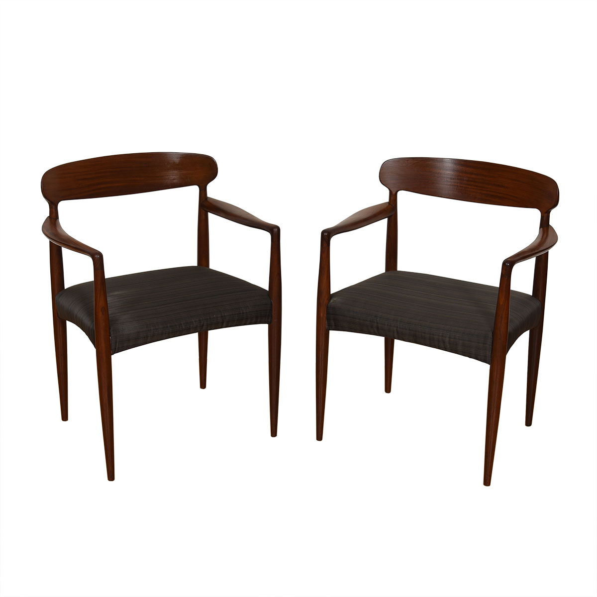 Pair of Danish Modern Upholstered Arm Chairs