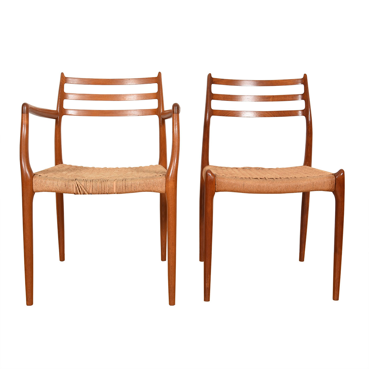 Set of 8 Teak Dining Chairs 2 Arm (Model #62) + 6 Side (Model #78) by Niels Møller