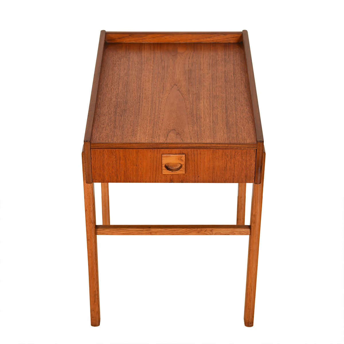 Danish Modern Teak Raised Edge Accent Table w/ Drawer