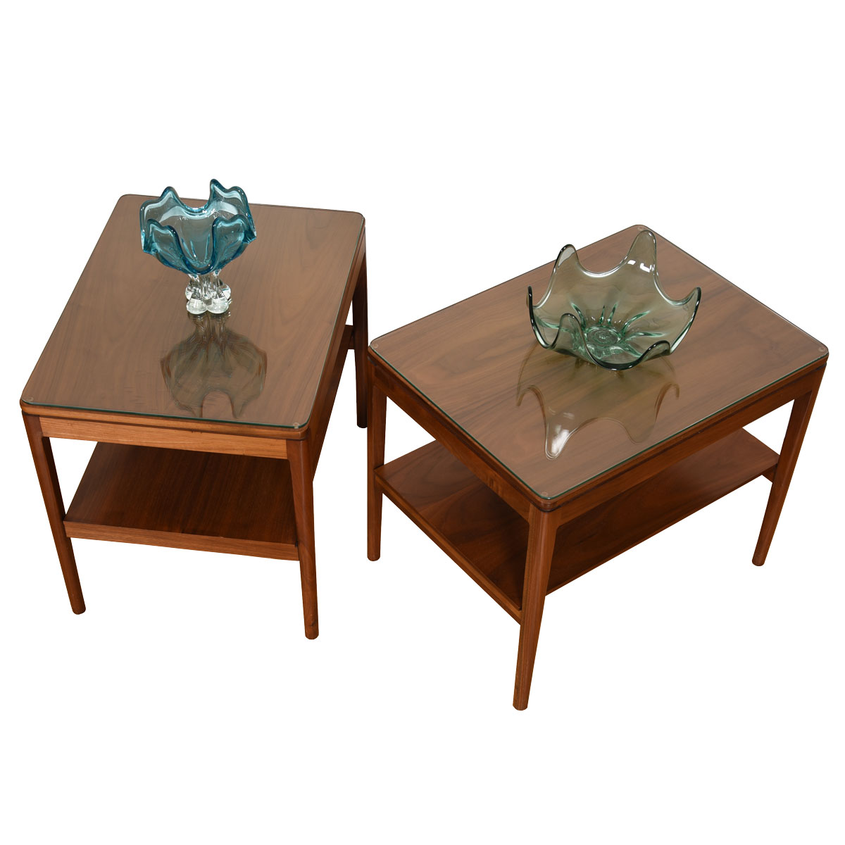 Pair of Mid Century Walnut End / Accent Tables w/ Glass Tops