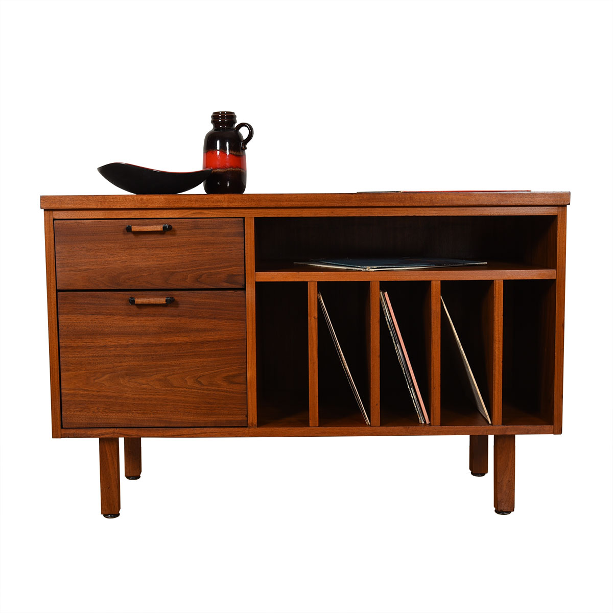 Mid Century Modern Open Media / Vinyl / Office Storage