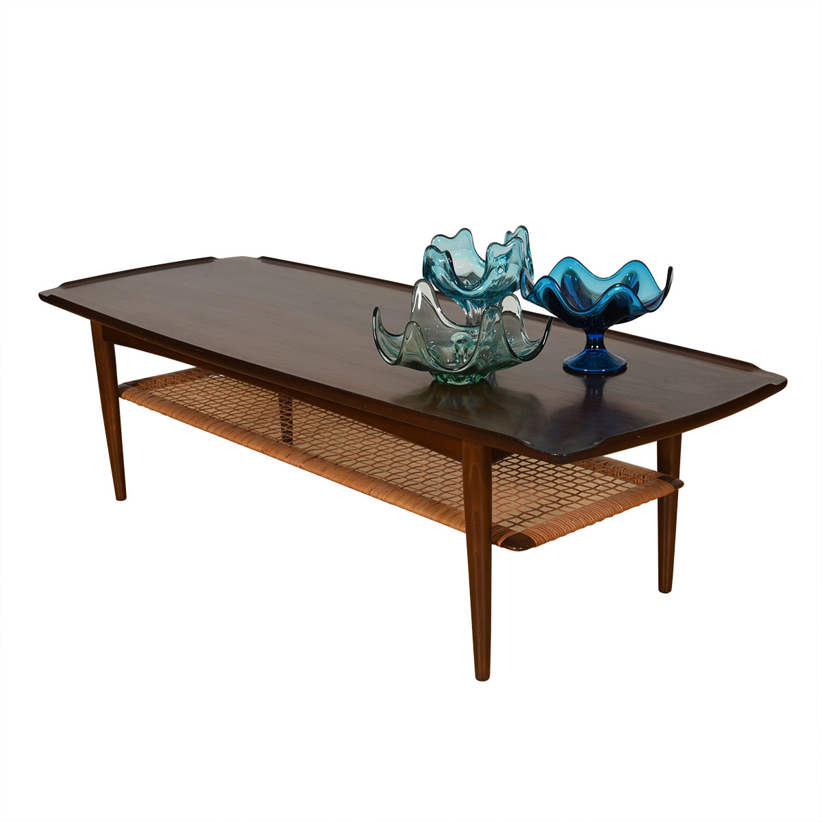 Walnut Danish Modern Coffee Table w/ Cane Shelf