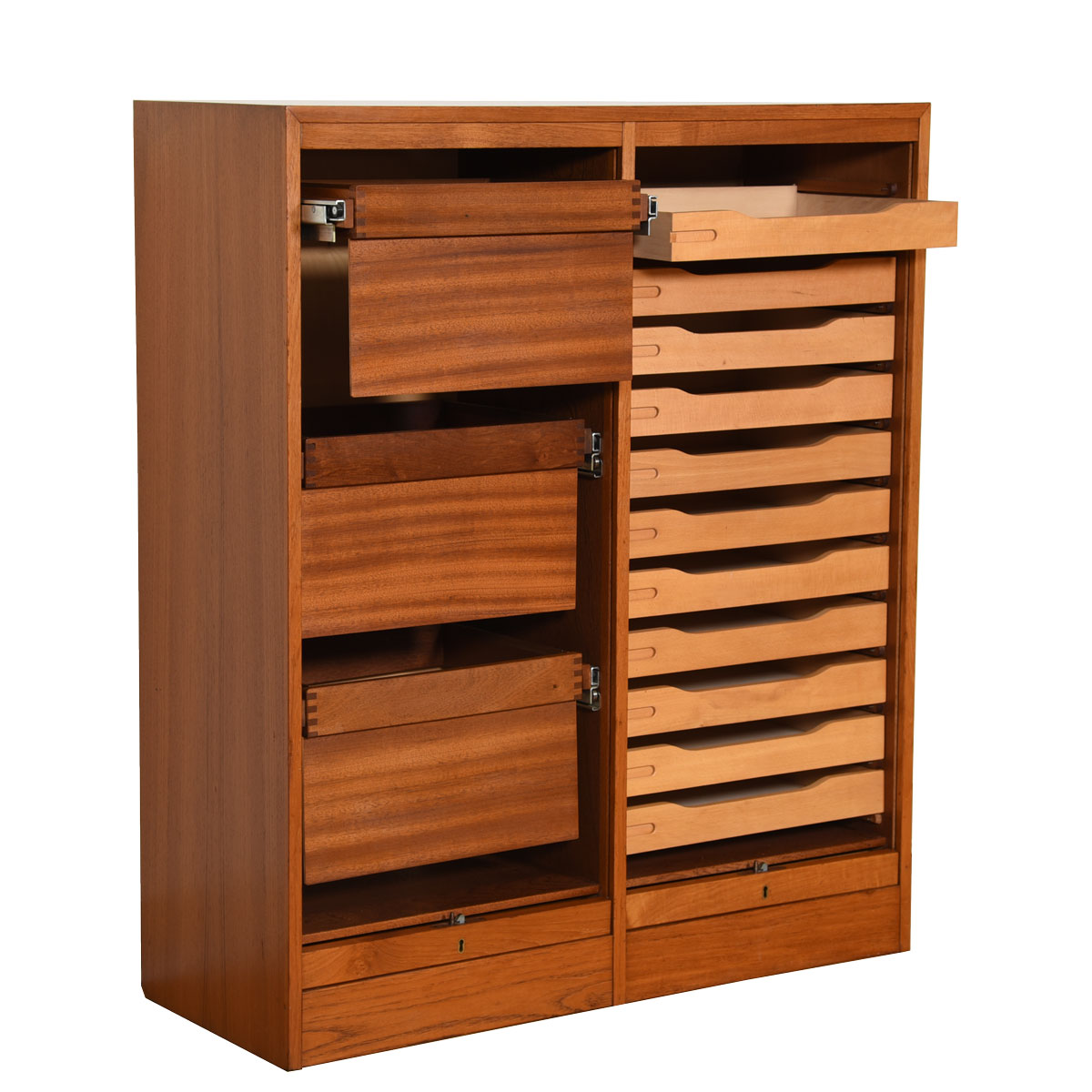 Danish Teak Locking Double Tambour Door File Cabinet / Organizer