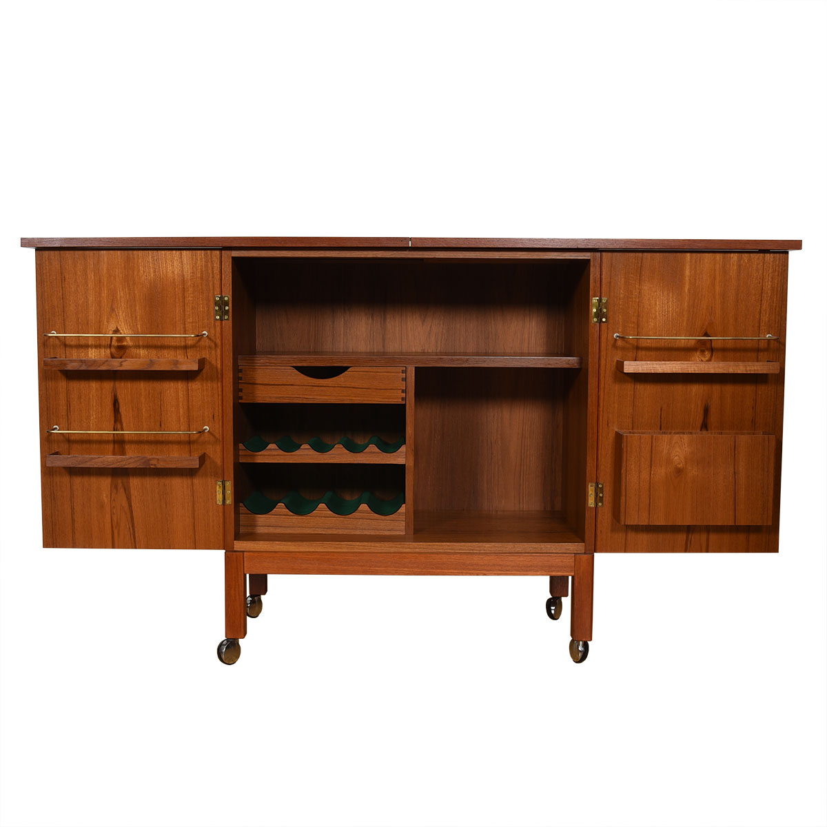 Danish Modern Teak Locking Expanding Bar / Storage Cart