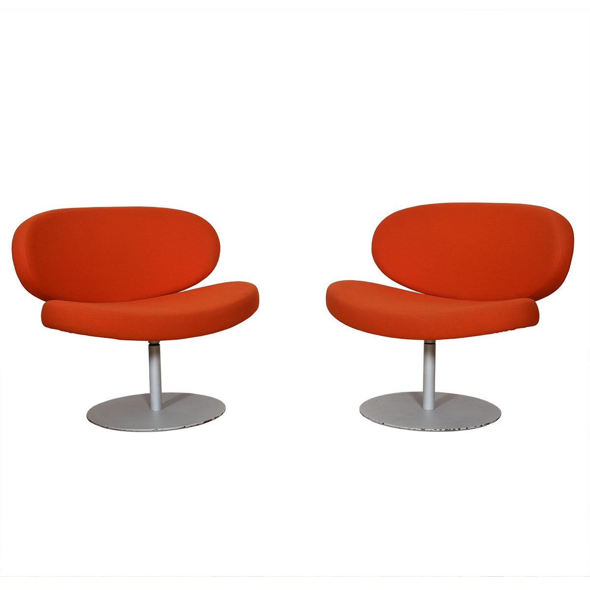 Pair Mid Century 'Orange Slice' Lounge Chairs