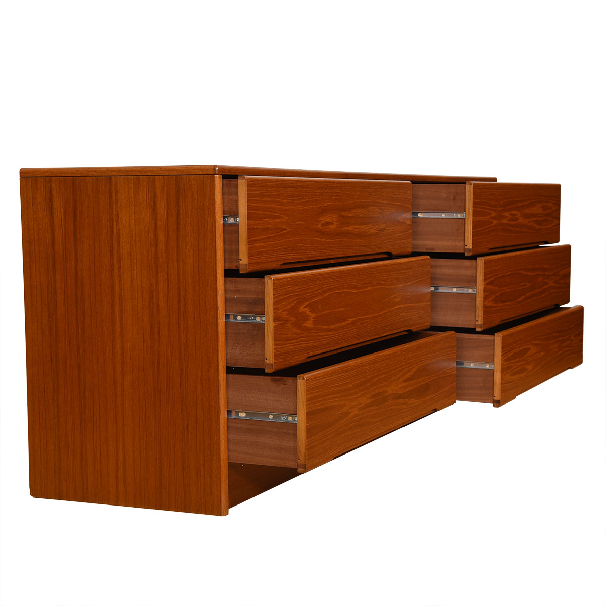 Danish Modern Teak 6-Drawer Long Dresser w/ Deep Drawers