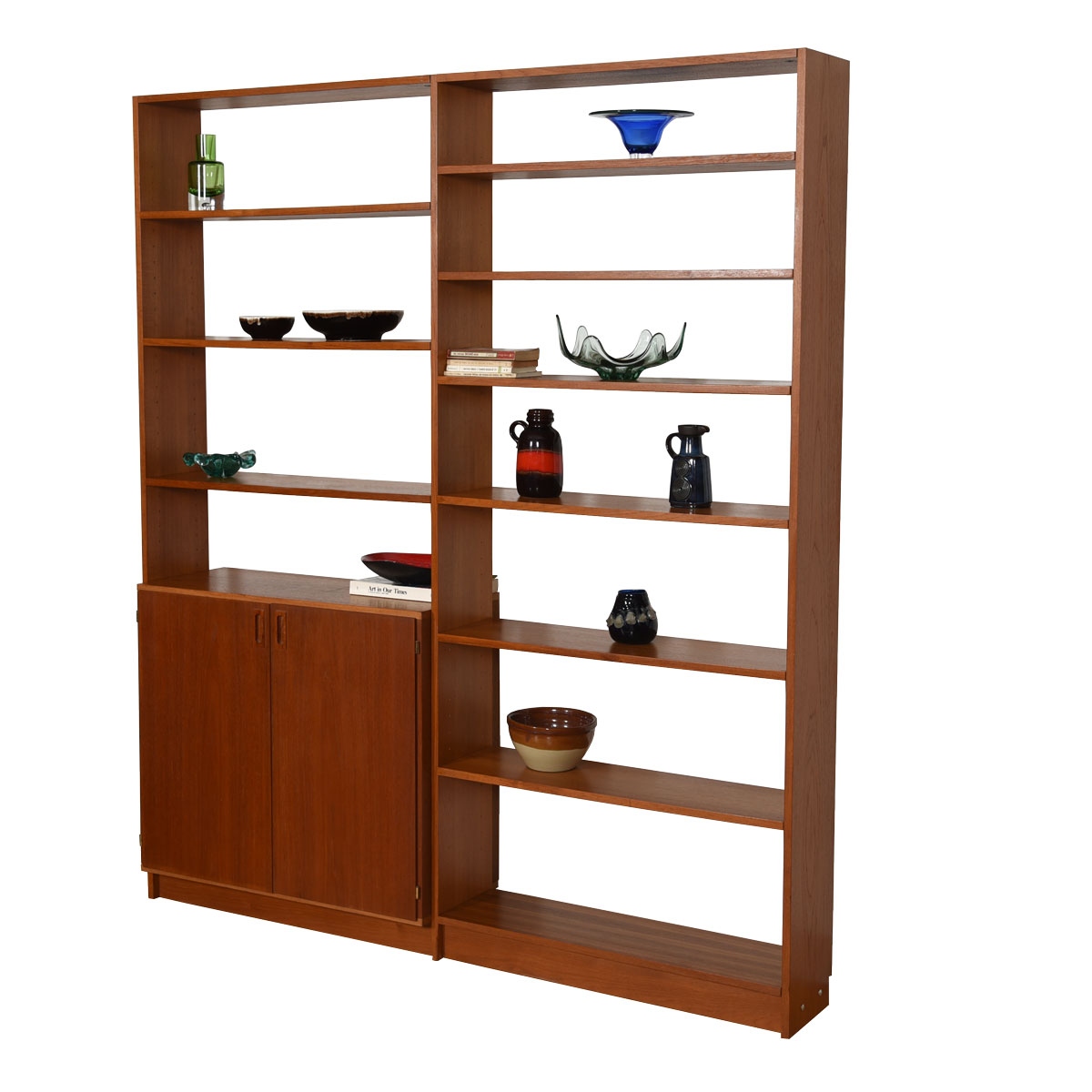 Danish Teak Bookcase Wall Unit w/ Adjustable Storage Cabinet