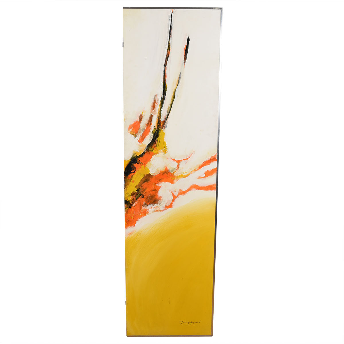 Mid Century Modern Abstract Large Painted Screen / Room Divider