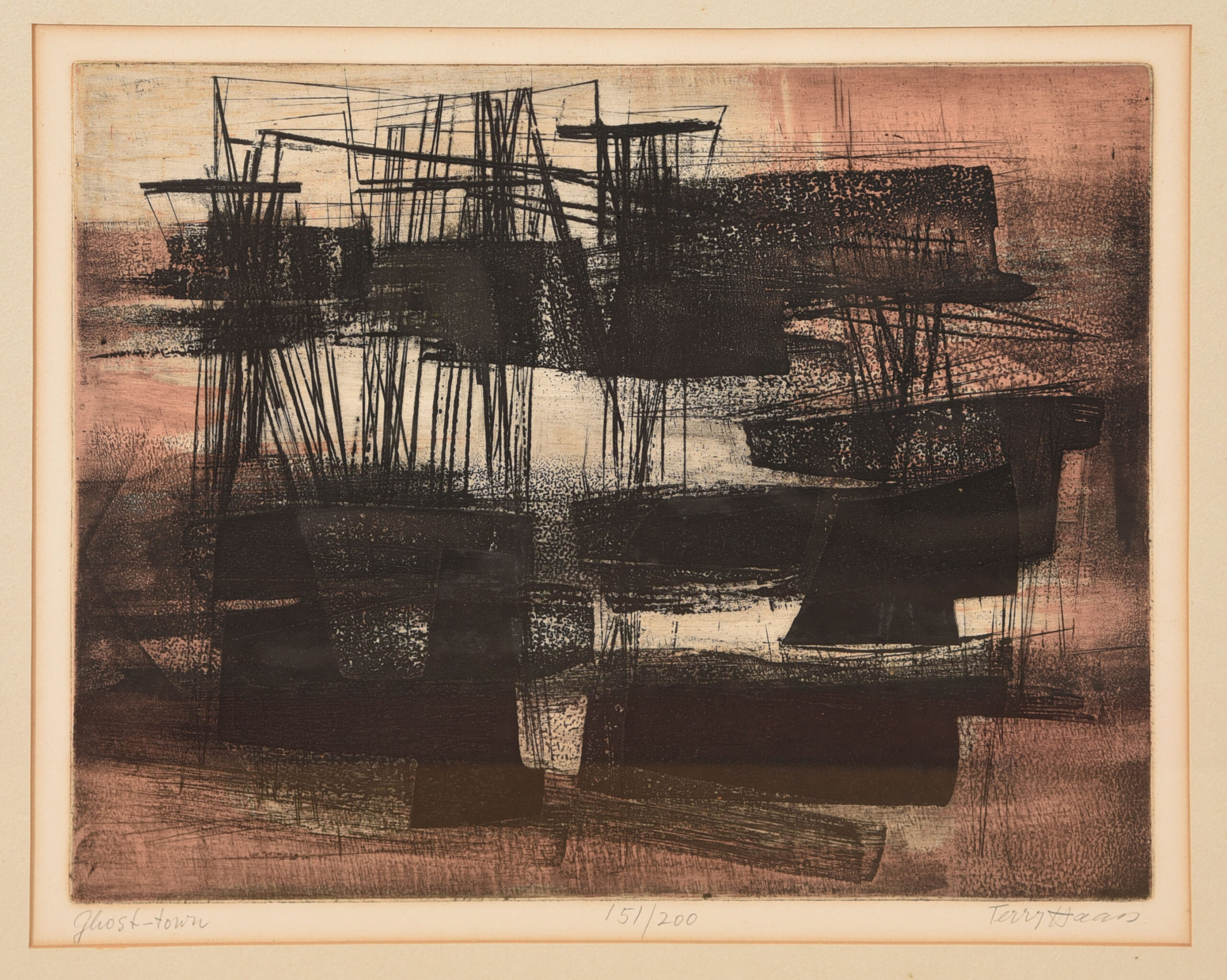'Ghost Town' by Terry Haan, Deep Etching Abstract Artwork