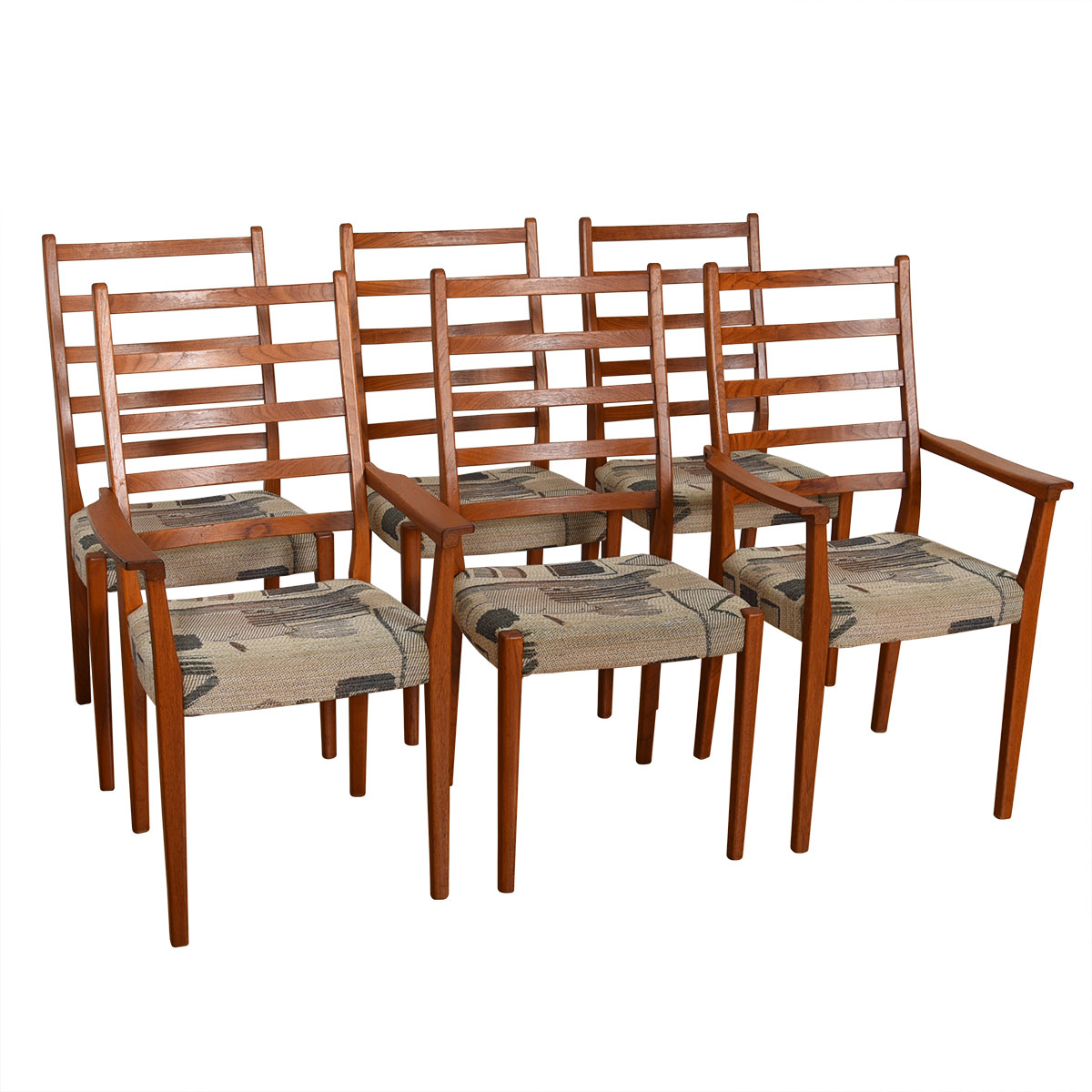 Set of 6 (2 Arm + 4 Side) Danish Dining Chairs