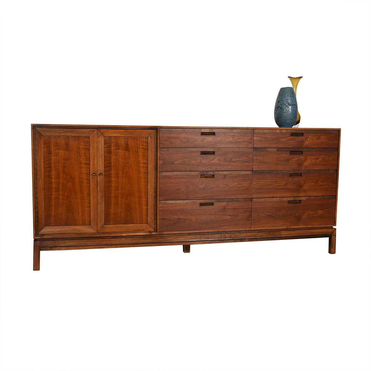 Thin-Edged 71″ Mid Century Walnut Dresser / Sideboard