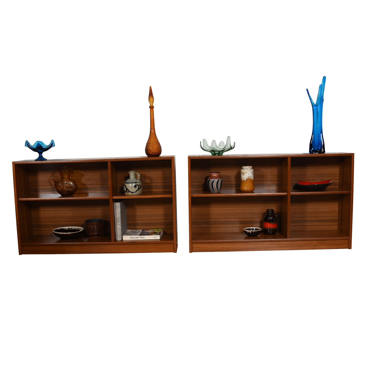 Pair of Danish Modern Teak Low Bookcases (priced individually)