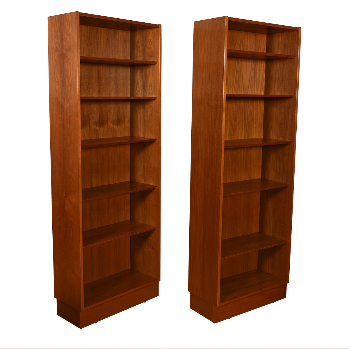 Pair of Tall Teak Adjustable Shelves Bookcases