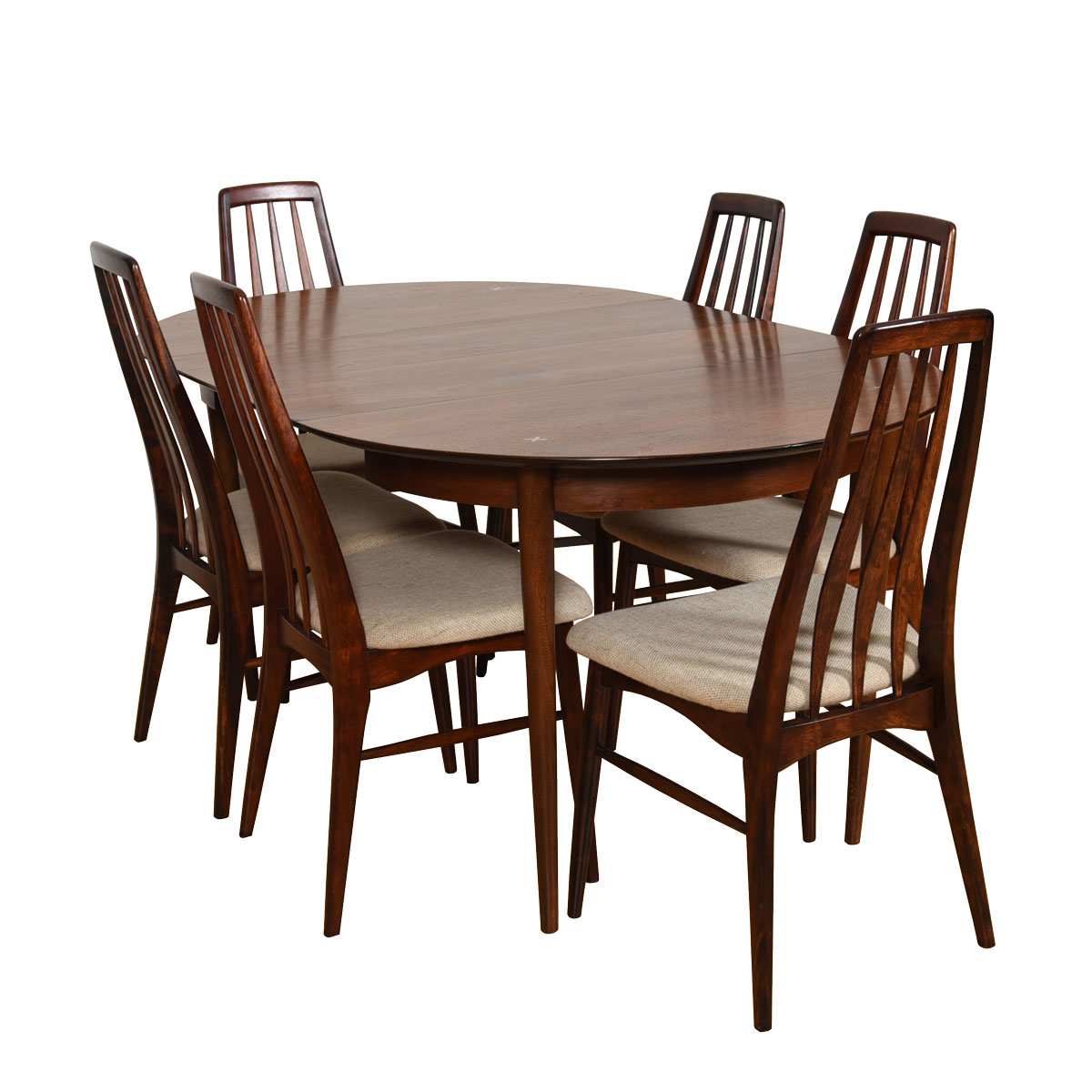 Mid Century Walnut Round Expanding Dining Table by American of Martinsville
