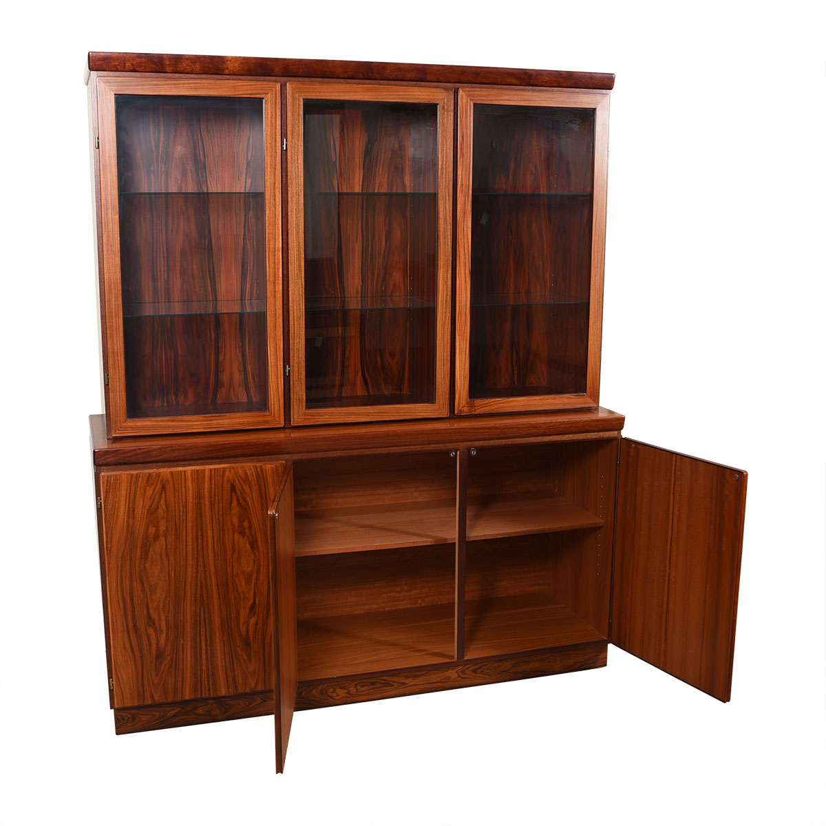 Lighted 2 Piece Danish Modern Rosewood Display Cabinet / Storage