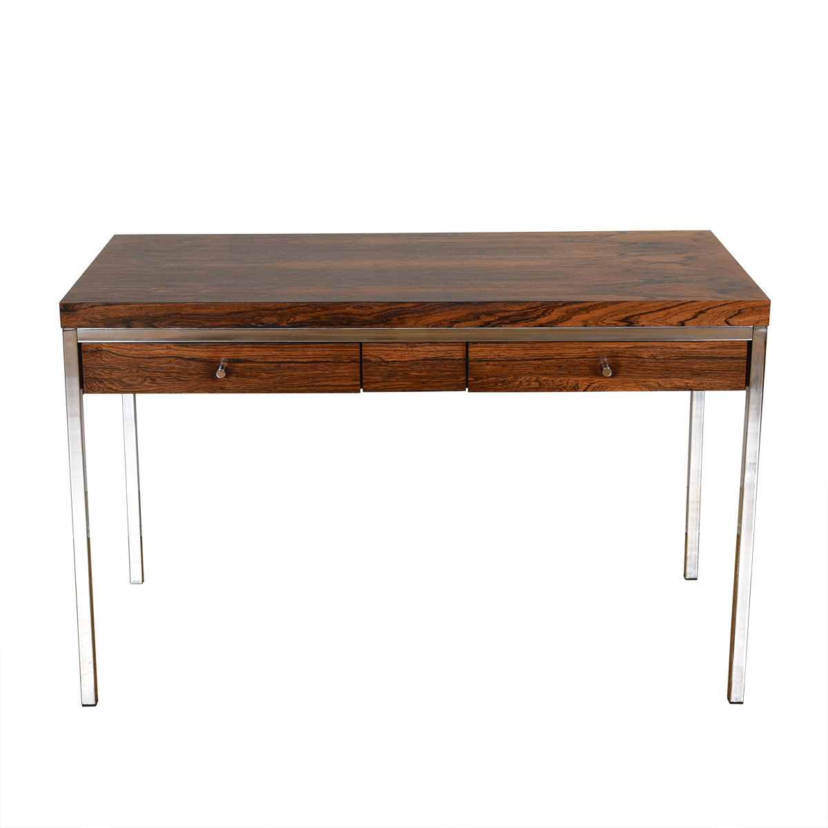 Petite Rosewood & Chrome Writing Desk w/ Drawers