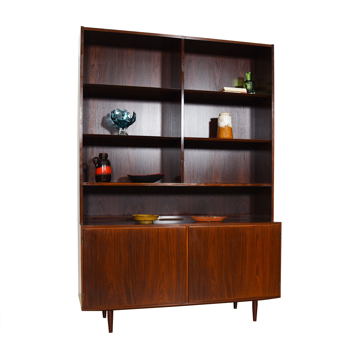 Danish Rosewood 2-Piece Bookcase / Display Cabinet