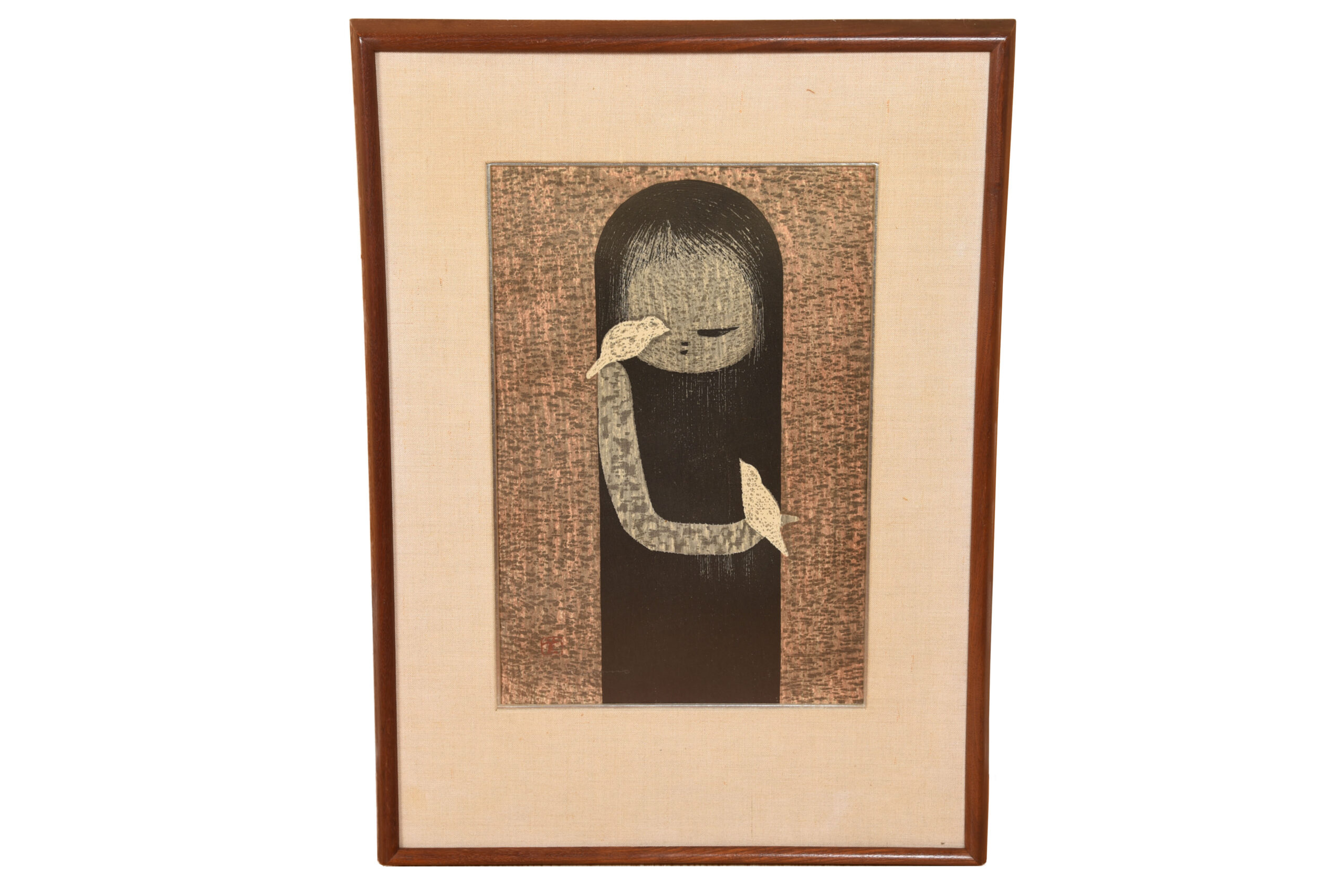 Wood Print of Innocent Child Playing with Two Birds by Kaoro Kawano