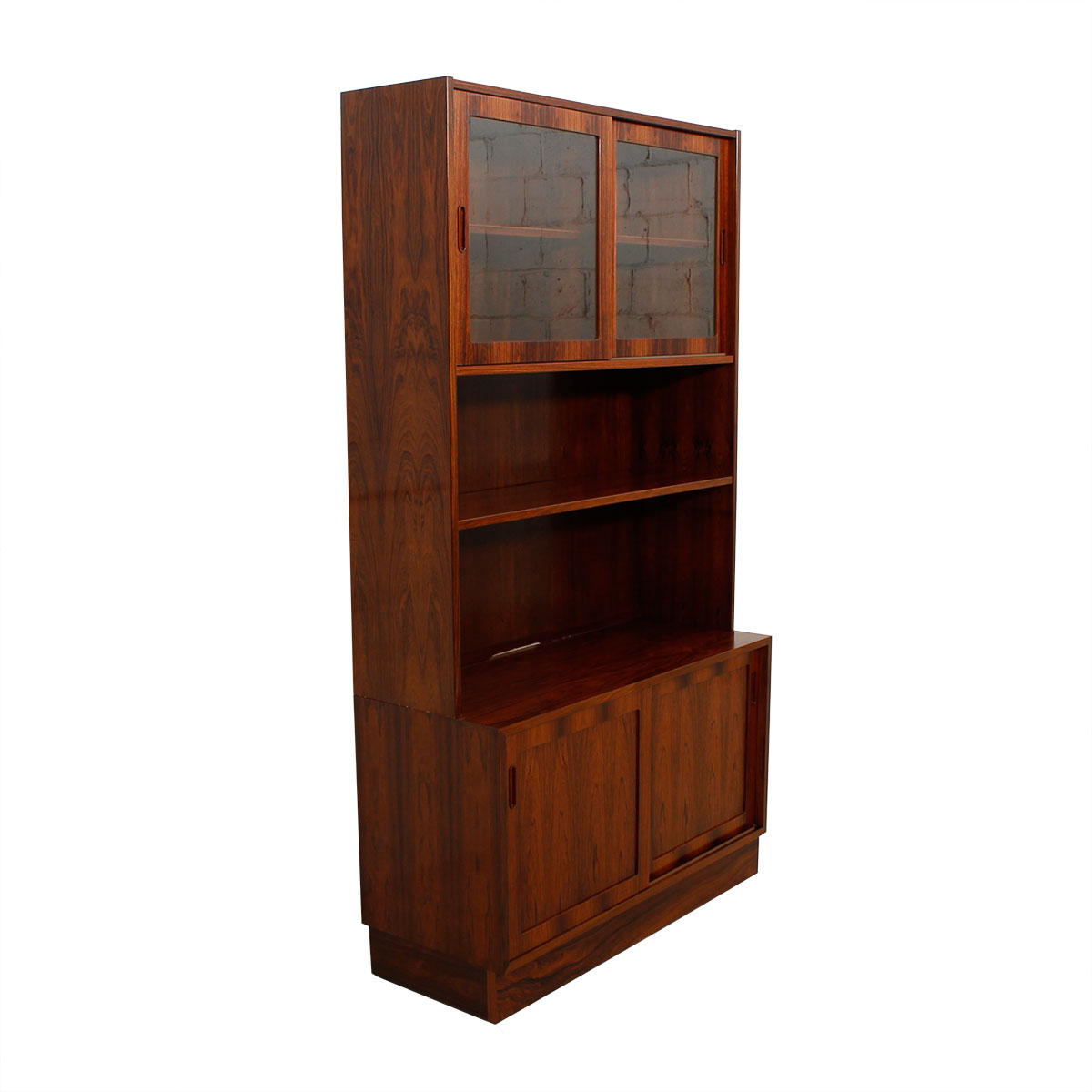 Condo Sized (42.5″) Danish Rosewood Storage Cabinet / Bookcase