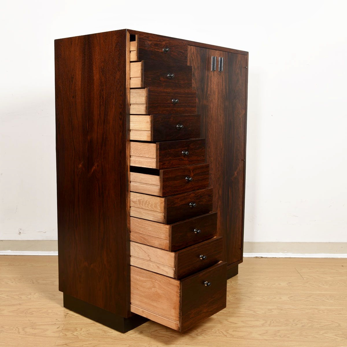 American Modernist Rosewood Tall Dresser / Gent's Chest by Probber