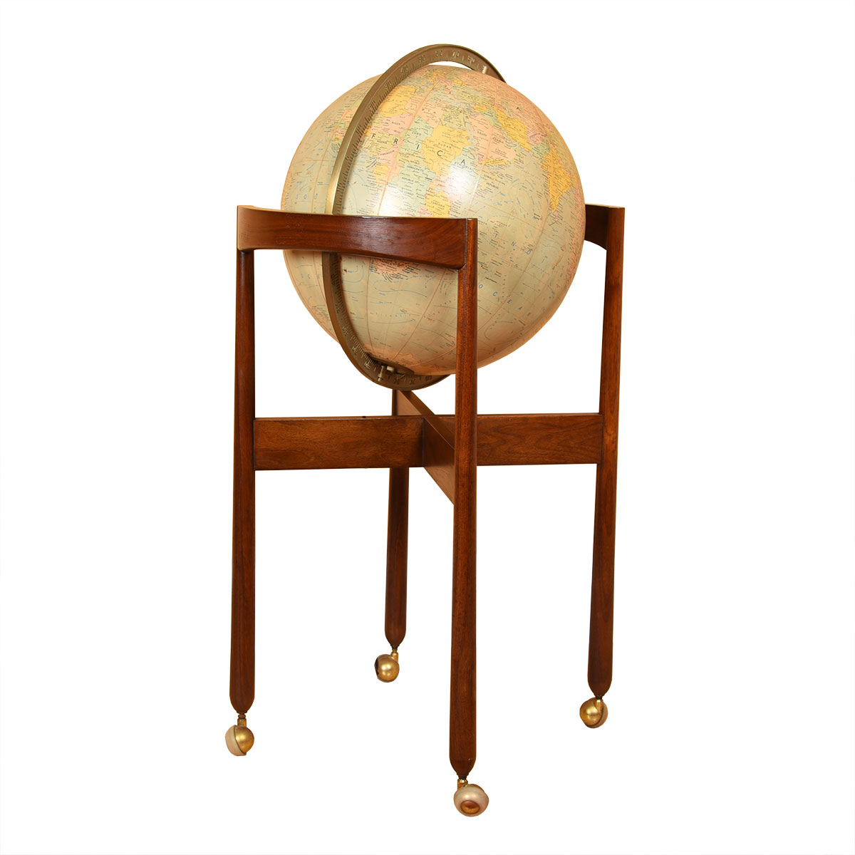 Vintage Walnut Lighted Standing Globe on Casters