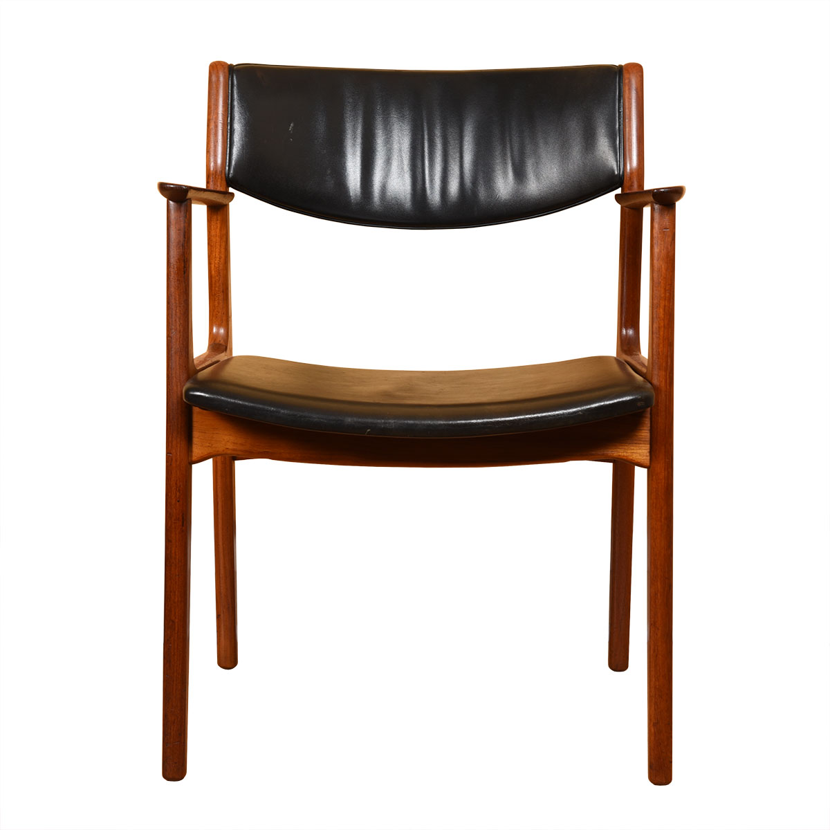 Single Leather Danish Modern Teak Dining / Accent Arm Chair