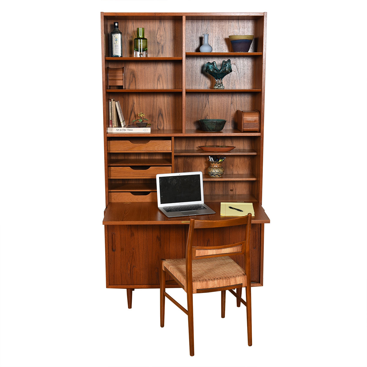42″ Danish Teak 2 Pc. Drop-Down Secretary / Display Top w/ Sliding Door Cabinet