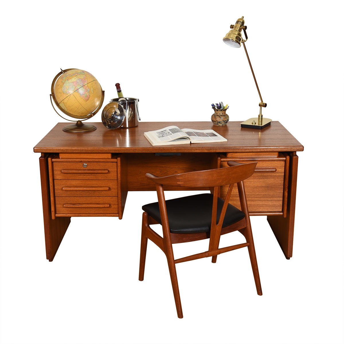 Danish Modern Teak Mid-Sized Floating Top Desk