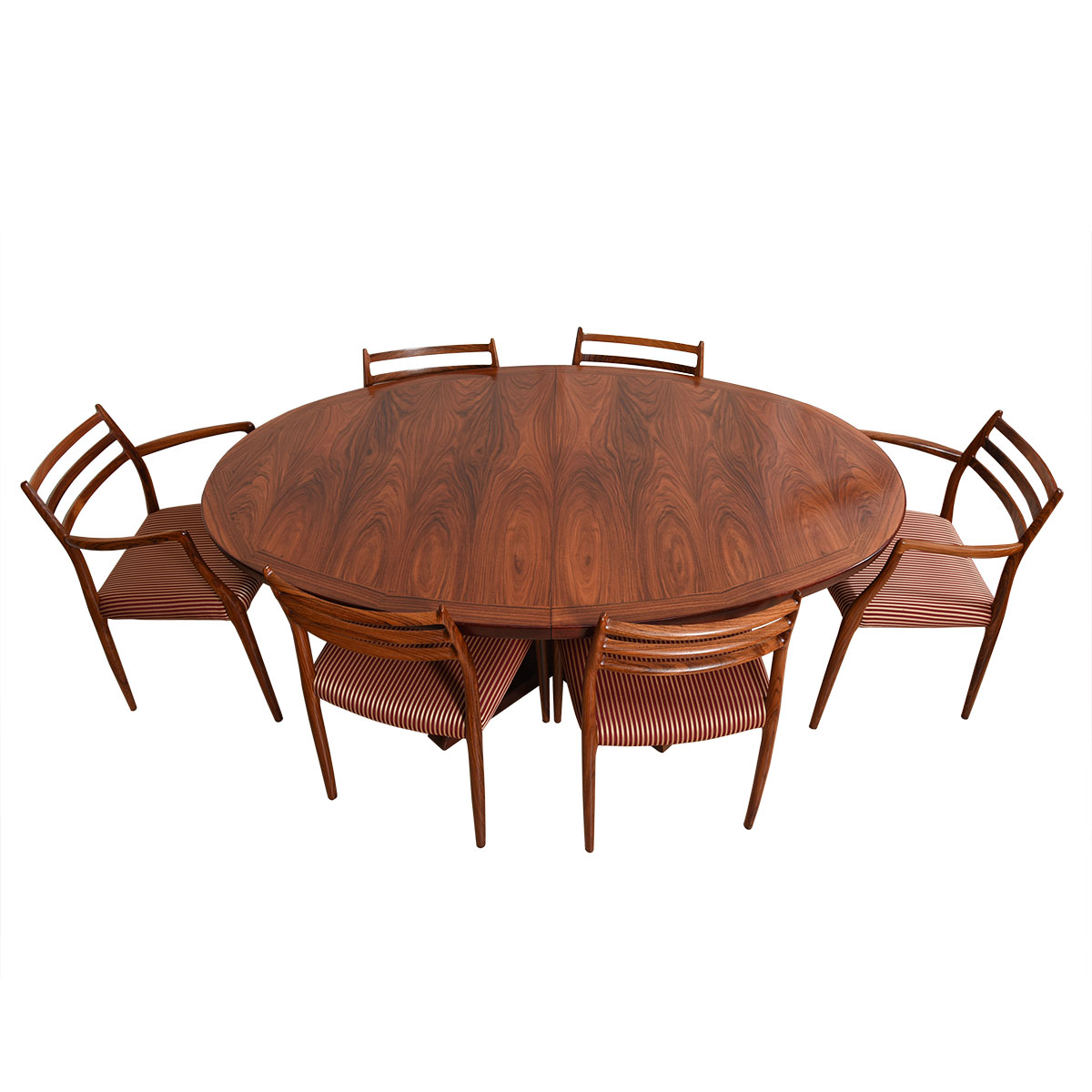 Danish Colossal Oval Rosewood Pedestal Expanding Dining Table