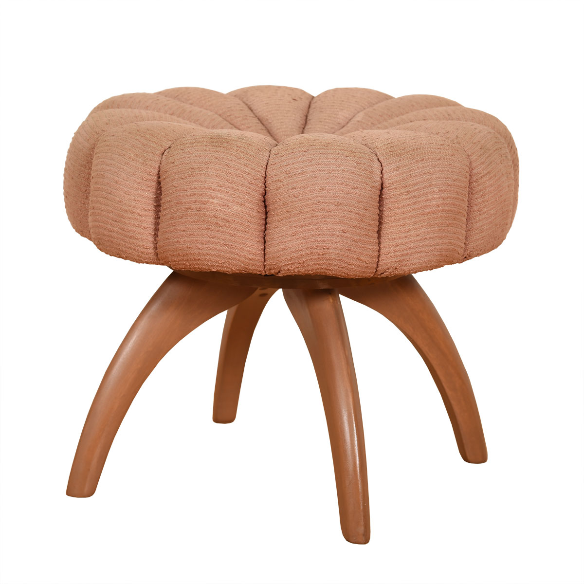 Heywood Wakefield Swivel Upholstered Wishbone Stool