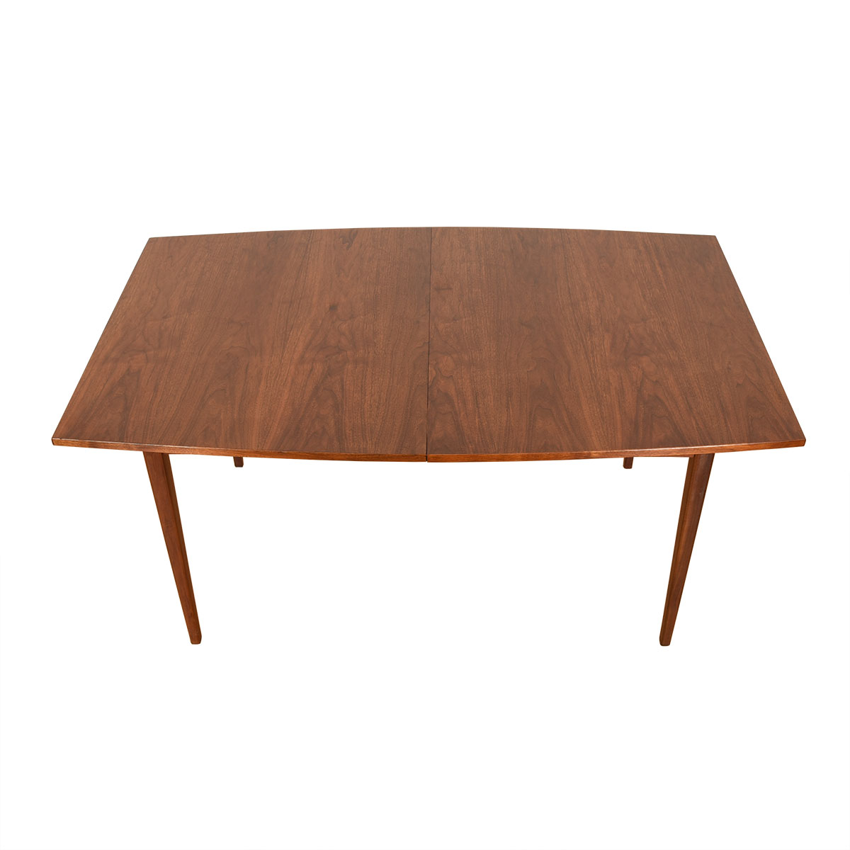 Mid Century Walnut Bowed Shaped Expanding Dining Table
