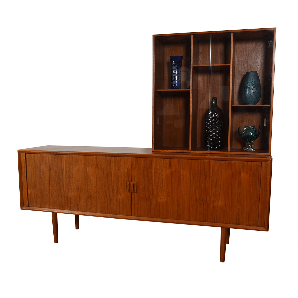 Danish Teak Tambour Door Room Divider / Sideboard + Separate Display Top