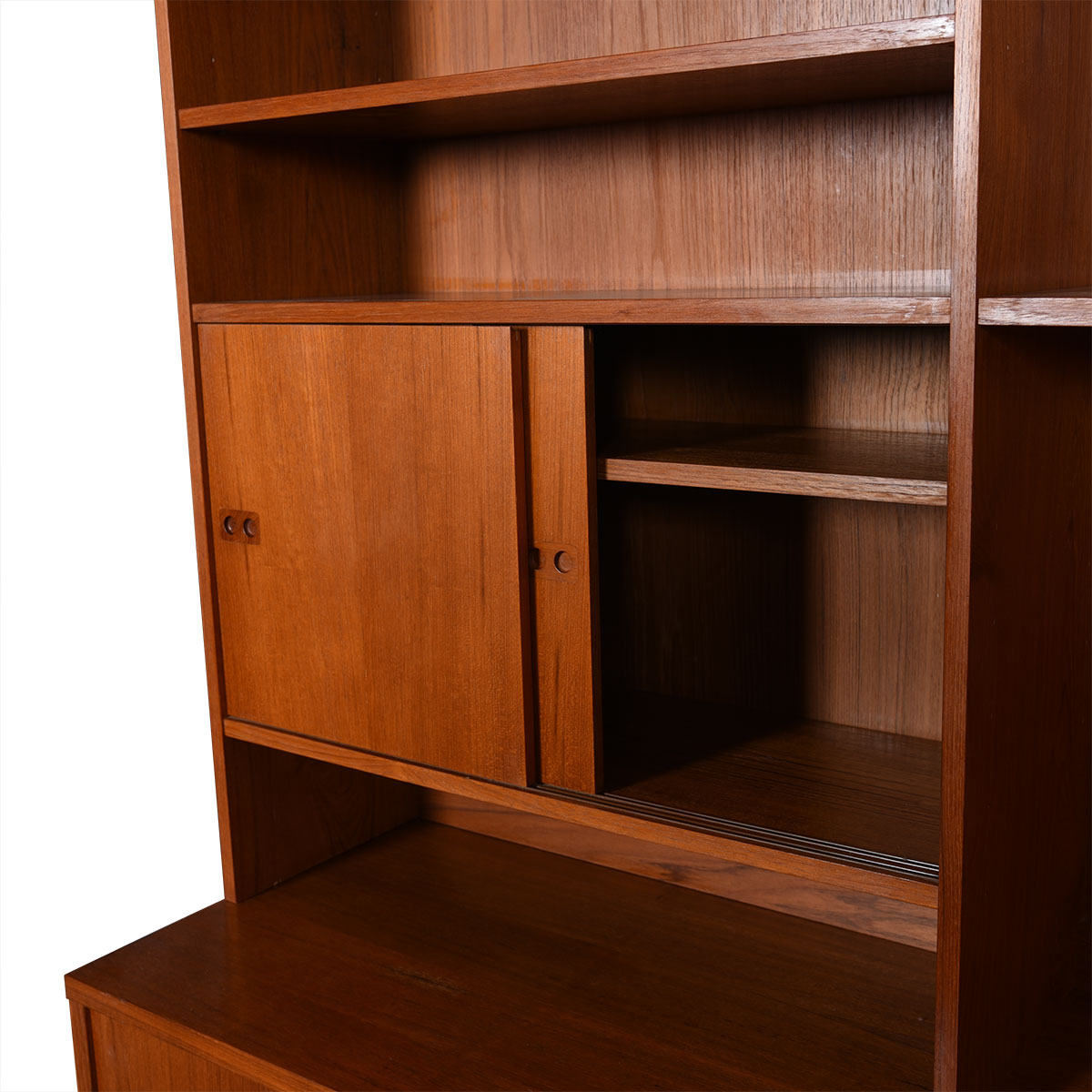 Danish Modern Teak Triple-Column Wall Unit