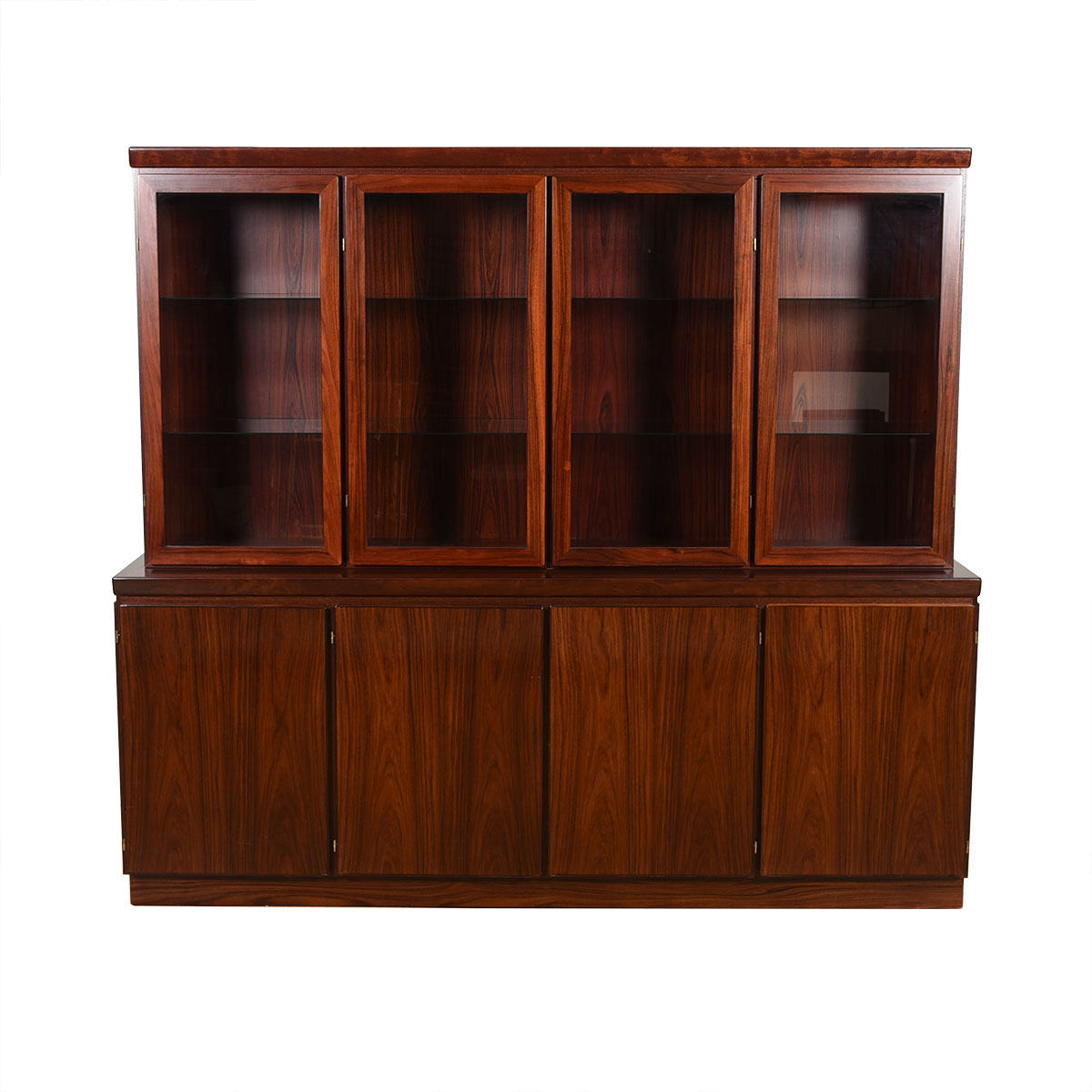 Lighted 2 Piece Danish Rosewood 4-Bay Display Cabinet / Storage