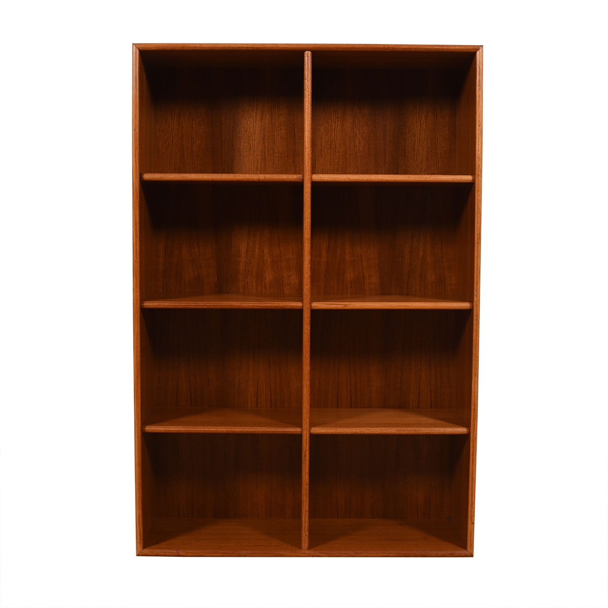Thin Compact Danish Modern Teak Bookcase / Room Divider