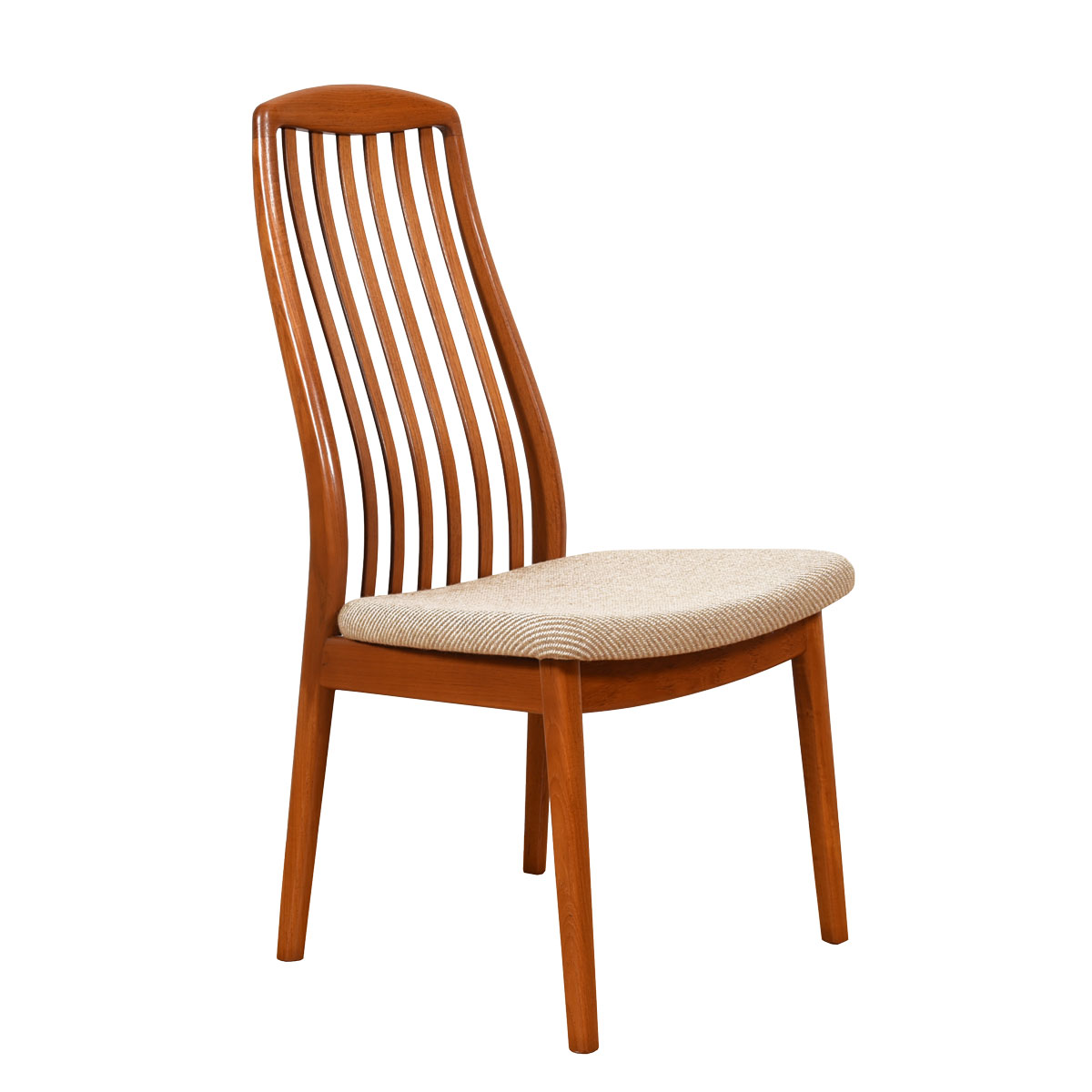 Set of 6 Teak Danish Modern Curved Slatted-Back Dining Chairs